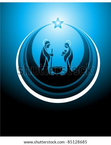 Icon depicting the nativity scene in blue