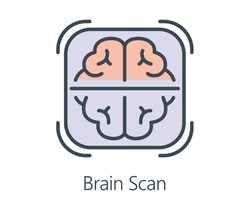 Icon design brain scan in flat line style. Symbol about health check and medical concept.