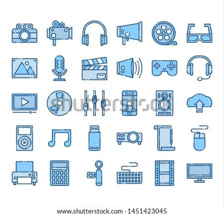 Icon Design Concept, Multimedia And Entertainment In the form of work Filled outline Set.