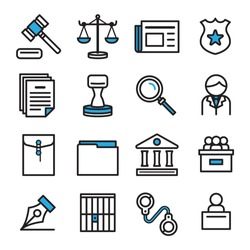Icon design for law concept.Thin line.