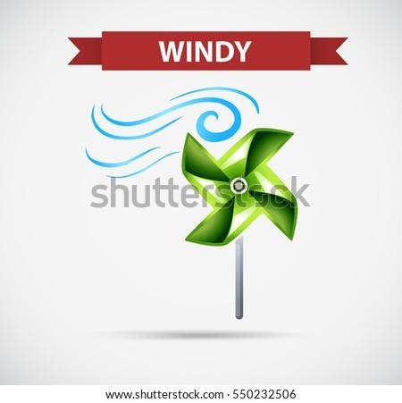 Icon design for windy illustration