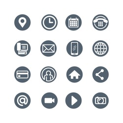 icon design set for web, social media, communication and corporate business cards, round vector