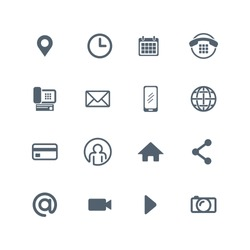 icon design set for web, social media, communication and corporate business cards, vector
