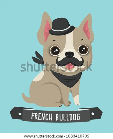Icon dog breed French Bulldog. The Frenchie puppy has a curvy mustache and a retro hat. Text: French Bulldog.