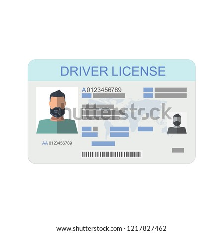 Icon driver's license in flat style, identity card. ID card, identification card, identity verification, person data. Vector illustration. Stock fotó ©