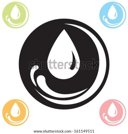 icon drops in 5 colors vector