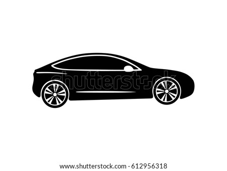 Icon electric modern car. Tesla. Vector black illustration on white background