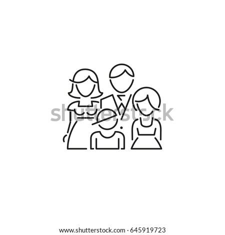 icon family daddy mama doughtier son line - Shutterstock ID 645919723
