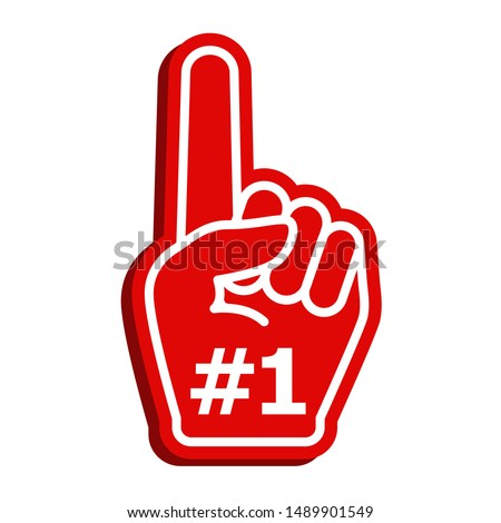 Icon fan logo hand with finger up. Hand up with number 1. Fan arm glove with finger. Vector illustration.