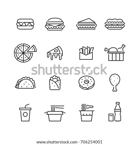 icon fast foods, vector