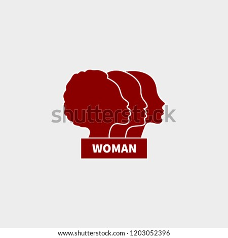 Icon feminism. Profiles of women of different races. Female international movement, logo feminism. Vector illustration