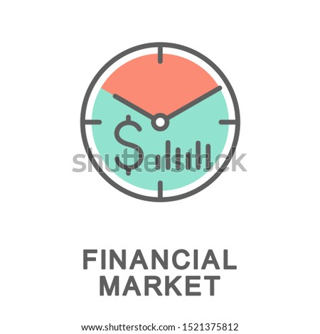 Icon financial market. Financial services for business lending. The thin contour lines with color fills.