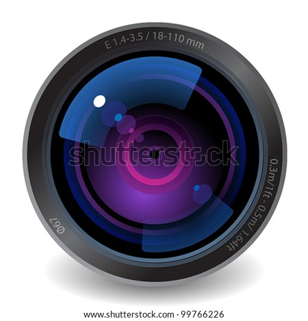 Icon for camera lens. White background. Vector saved as eps-10, file contains objects with transparency.