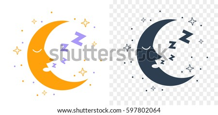 Icon for children in the form of the moon that sleeps in the starry sky. Icon in the linear style and silhouette