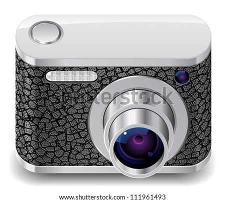 Icon for compact camera decorated with leather. White background. Vector saved as eps-10, file contains objects with transparency.