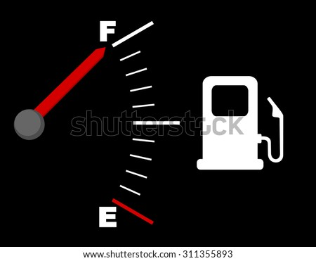 Icon for gas station and fuel indicator dashboard sign, white glowing meter with a red needle. Gas gauge indicating full tank. vector art image illustration, isolated on black background, eps10
