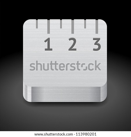 Icon for metallic ruler. Dark background. Vector saved as eps-10, file contains objects with transparency.