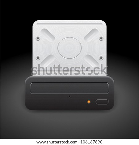 Icon for optical drive. Dark background. Vector saved as eps-10, file contains objects with transparency.