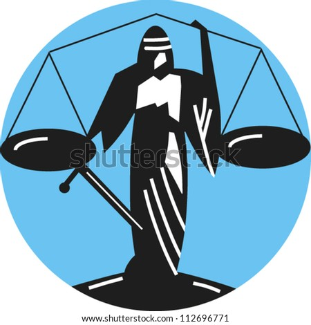 Icon for the scales of justice, justice is blind