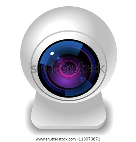 Icon for webcam. White background. Vector saved as eps-10, file contains objects with transparency.