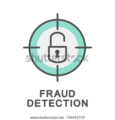 Icon fraud detection. A quick search and detection of anomalies in real time can reveal a fraud attempt. The thin contour lines with color fills.