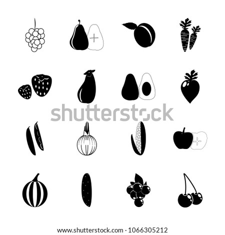icon Fruits And Vegetables with bird cherry, onions, pea, eatable and fruits #1066305212