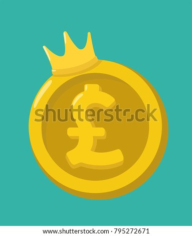 Icon gold coin currency Pound Sterling. On the coin with the sign of the British Pound is the crown.