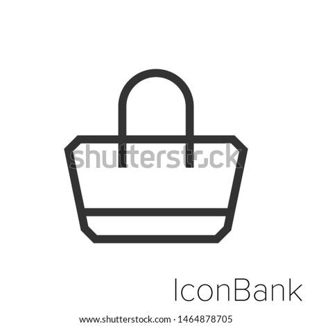 Icon handbag in black and white Illustration.