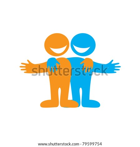 Icon Happy friends. Symbol of friendship. Vector sign.