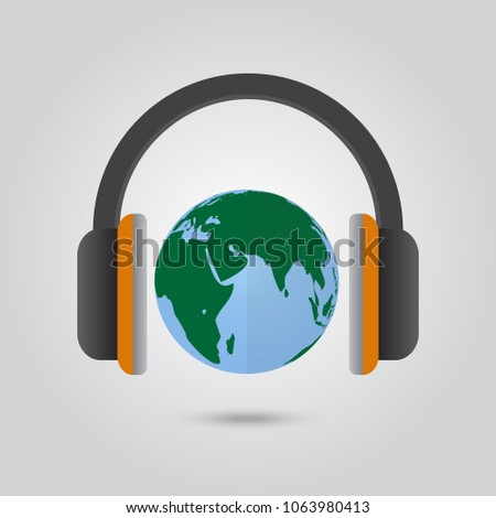 icon headphone and earth vector