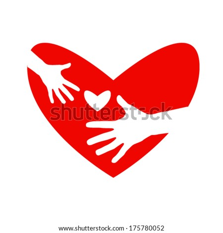 icon heart and hands isolated