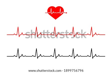Icon heart with line heartbeat. Normal heart rate. Line cardiogram heart on white background.  Vector illustration in Flat style. electro-cardiogram  Stock photo ©