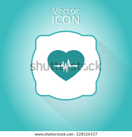 Icon heart with pulse. Flat style. Made in vector