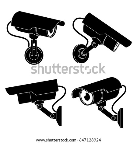 Icon illustration for cctv camera in black