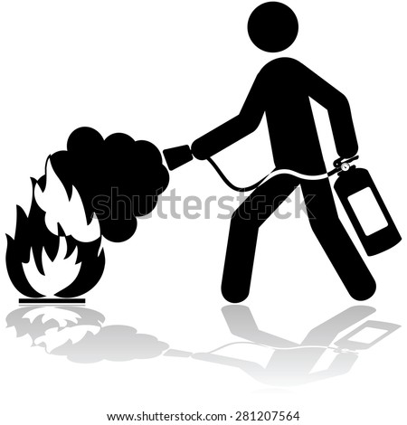 Icon illustration showing a man using a fire extinguisher to put out a fire Stockfoto ©