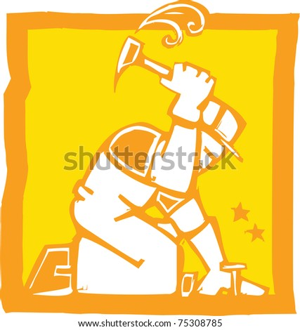 Icon in a woodcut style of a workman with a hammer