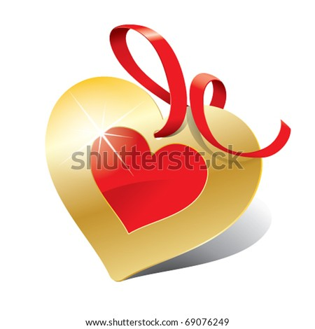 Icon in the form of golden heart with ribbon for themes like love, Valentine's day, holidays. Vector illustration.