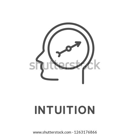 Icon intuition. The ability of a person to correctly understand the meaning of events and correctly navigate in different situations. The thin contour lines with color fills. Stock foto ©