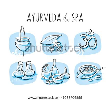 icon item set ayurveda wellness