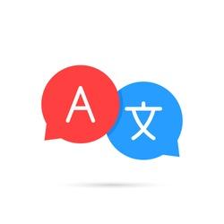 Icon language translation. Chat bubbles translation. Communication, language. Web logo. Vector illustration.
