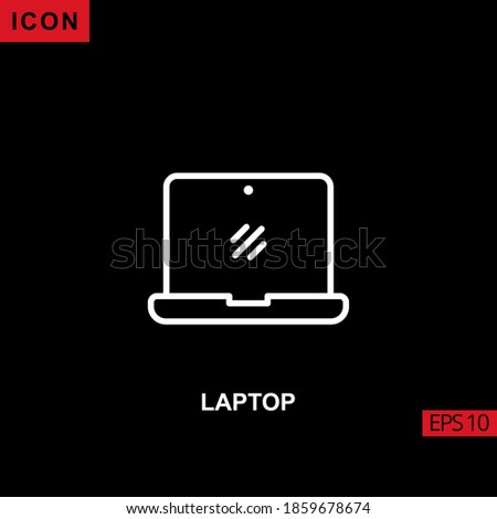 Icon laptop with screen monitor facade vector on black background. Illustration line, linear, outline and lineal icon for graphic, print media interfaces and web design. Foto stock ©
