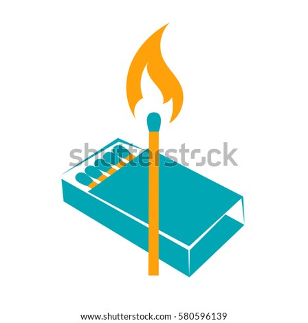 icon lighted match with a box of matches. two colors
