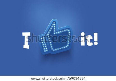 Icon like social network. Hand, big finger up on blue background. I like it!