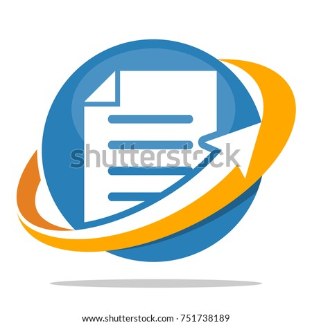 Icon logo for business administration of document, file management.