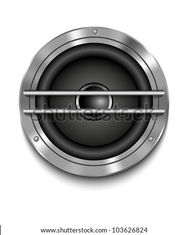 Icon loudspeaker vector. Audio loud speaker. Stereo, sound, radio, volume, dolby illustration.