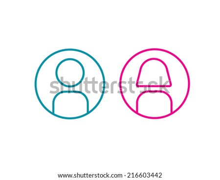 icon man and woman simple line vector illustration wc