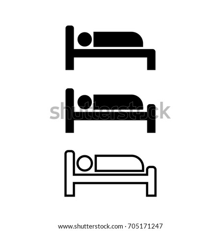 Icon man sleep on the bed for hotel, black, white color and line.