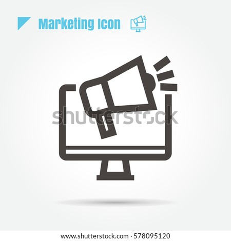 icon marketing Business illustration isolated sign symbol thin line for web, modern minimalistic flat design vector on white background
