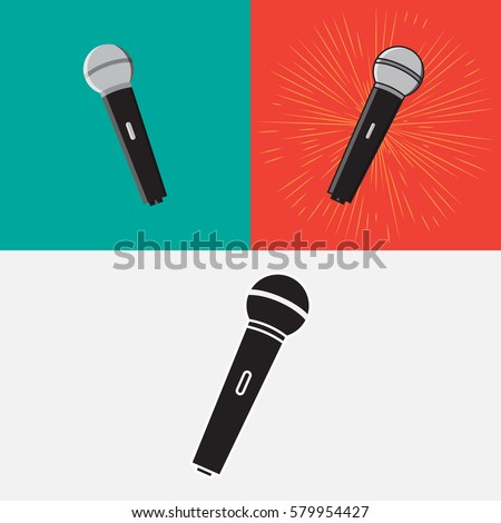 Icon microphone. Set of icons microphones in different styles.