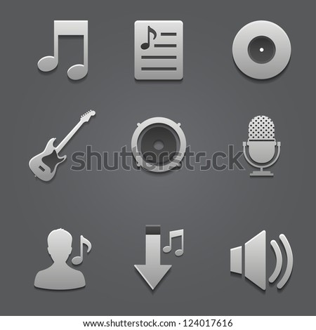 Icon music set vector